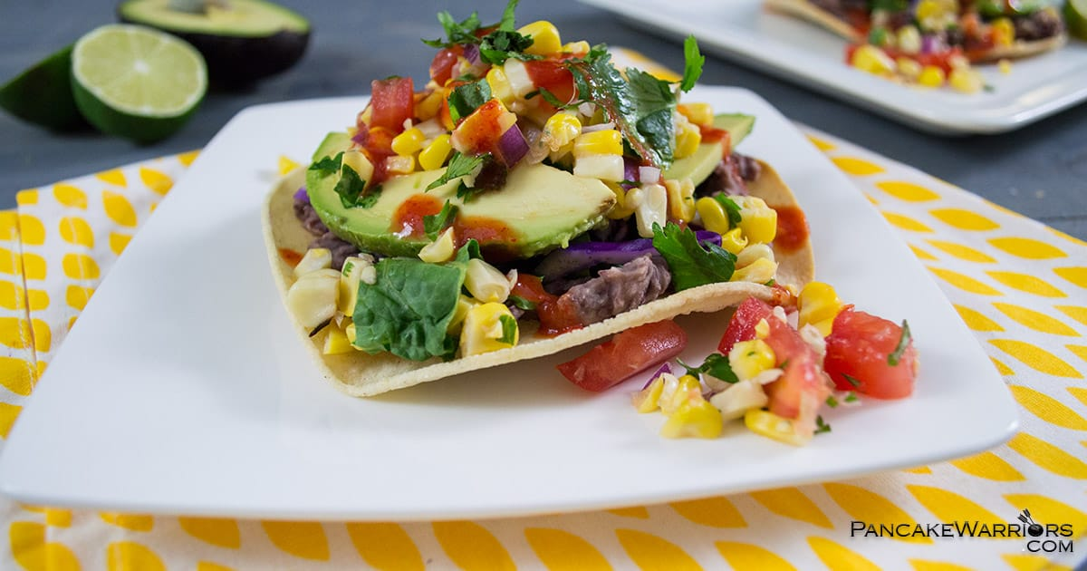 These easy bean tostadas are a simple, healthy meal that can be ready in under 15 minutes.   www.PancakeWarriors.com