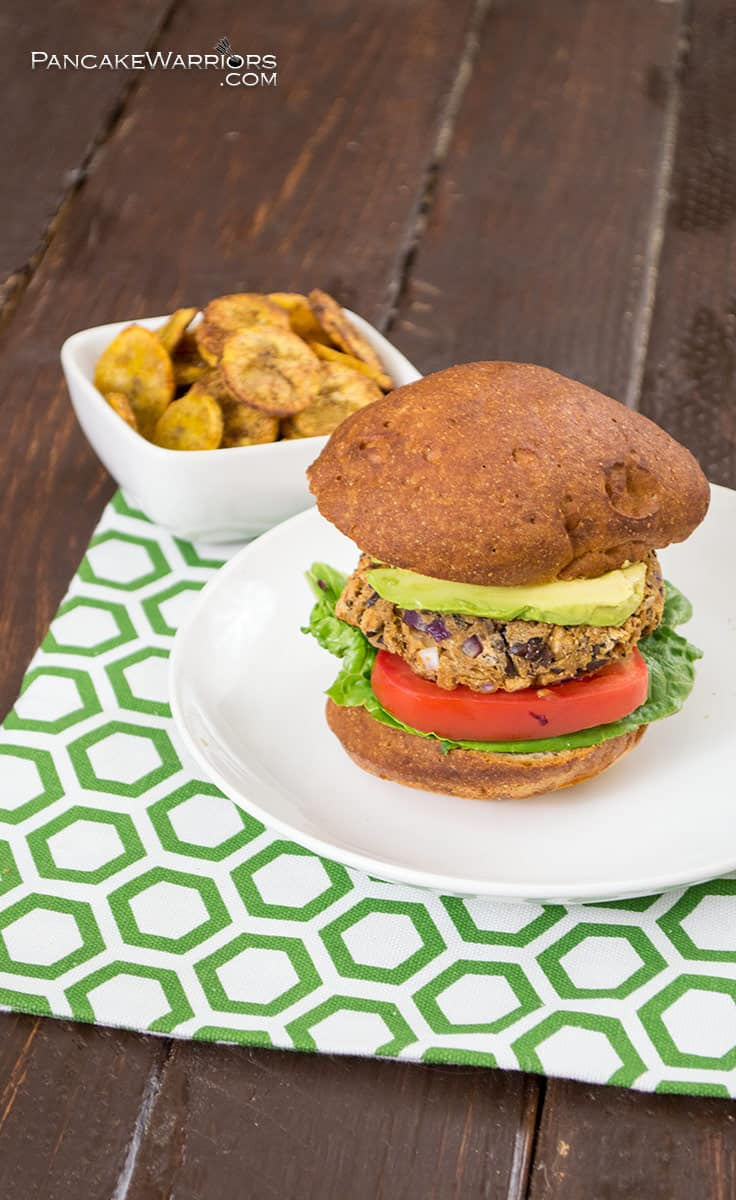 Sweet plantains paired with smoky cumin and paprika in these tasty black bean burgers will have everyone asking for more. This recipe is vegan, gluten free, and easy to make! | www.pancakewarriors.com