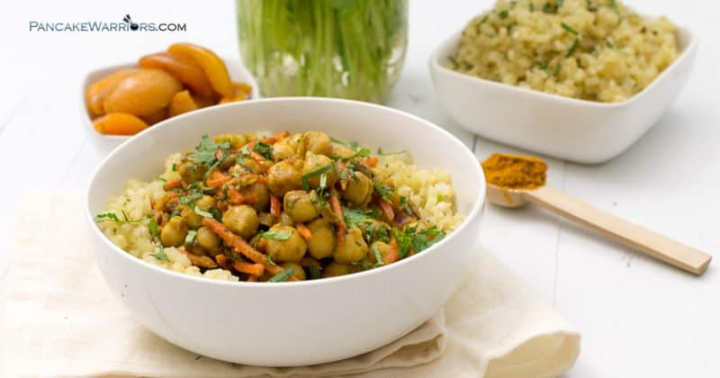This simple apricot chickpea curry is the perfect lunch or dinner recipe. Simple, inexpensive and easy to make this vegan, gluten free meal is packed with flavor and ready in under 5 minutes! | www.pancakewarriors.com