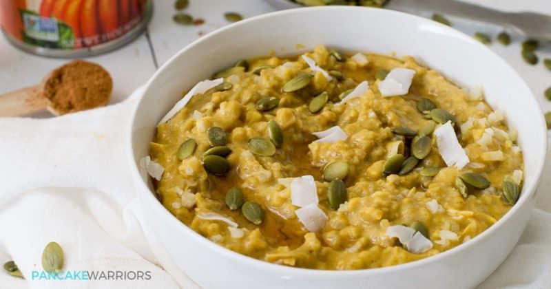 This simple grainfree pumpkin cauliflower oatmeal recipe is vegan, gluten free, grain free, paleo and delicious! Perfect way to start the day! www.pancakewarriors.com